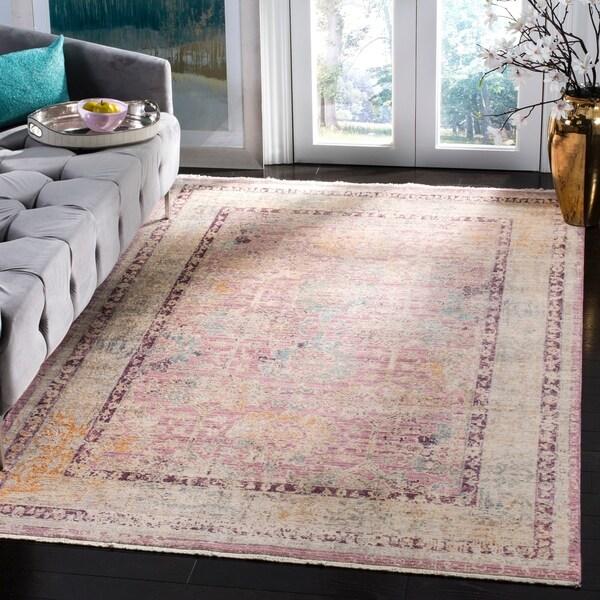 Shop Safavieh Illusion Pink/ Grey Viscose Area Rug
