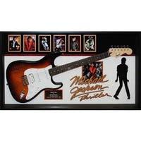Black Wood Framed Hand-signed Michael Jackson 'Thriller' Guitar Wall Art