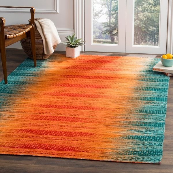 Teal Woven Rag Rug: Shop Safavieh Kilim Hand-Woven Teal/ Red Wool Area Rug