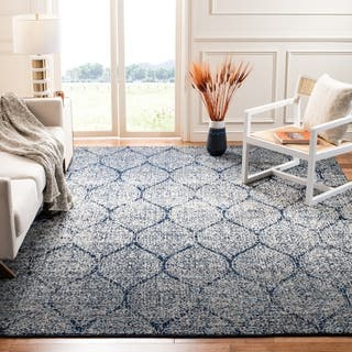 Safavieh Madison Vintage Boho Glam Navy Silver Area Rug 10 X 14