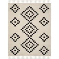 Safavieh Morrocan Fringe Shag Cream/ Grey Area Rug - 8' x 10'