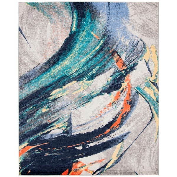 Shop Safavieh Porcello Modern Abstract Grey Blue Area Rug