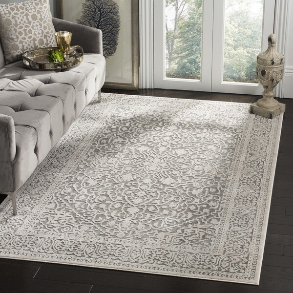 8x10 Area Rugs Gray And White: Safavieh Reflection Grey/ Cream Polyester Area Rug (8' X