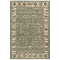 Safavieh Royalty Traditional Handmade Slate / Cream Wool Rug - 8' x 10'