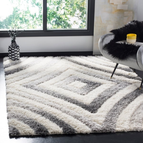 Shop Safavieh Selarmo Shag Cream Grey Polyester Area Rug