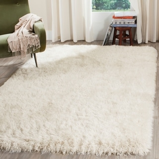 Safavieh Venice Shag Hand-Tufted Off-White Polyester Area Rug (7' 6 x 9' 6)