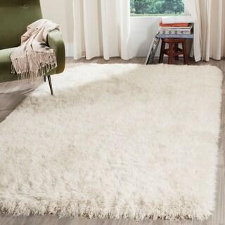 Safavieh Venice Shag Hand-Tufted Off-White Polyester Area Rug (7' 6 x 9' 6)