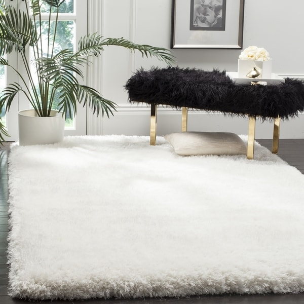 Safavieh Luxe Shag Hand-Tufted Ivory Polyester Area Rug (10' x 14')