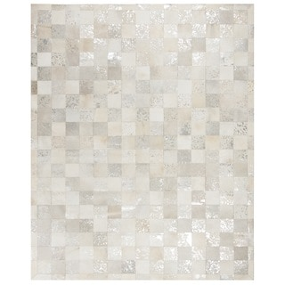 Safavieh Studio Leather Hand-Woven Ivory/ Silver Leather Area Rug (8' x 10')