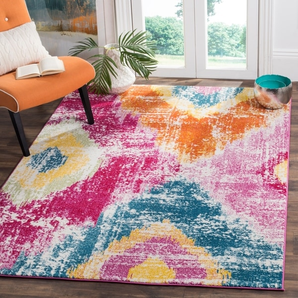 Shop Safavieh Watercolor Pink Orange Area Rug 8 X 10 On Sale