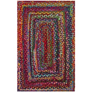 Safavieh Braided Hand-Woven Cotton Red / Multi Area Rug (2'6 x 4')