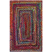 "Safavieh Hand-woven Reversible Braided Red/ Multi Cotton Rug - 2'6"" x 4'"