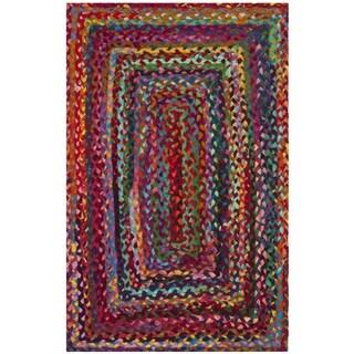 "Safavieh Hand-woven Reversible Braided Red/ Multi Cotton Rug - 2'6"" x 4'"