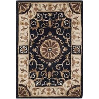 Safavieh Empire Hand-Tufted Black/ Ivory Wool Accent Area Rug - 2' x 3'
