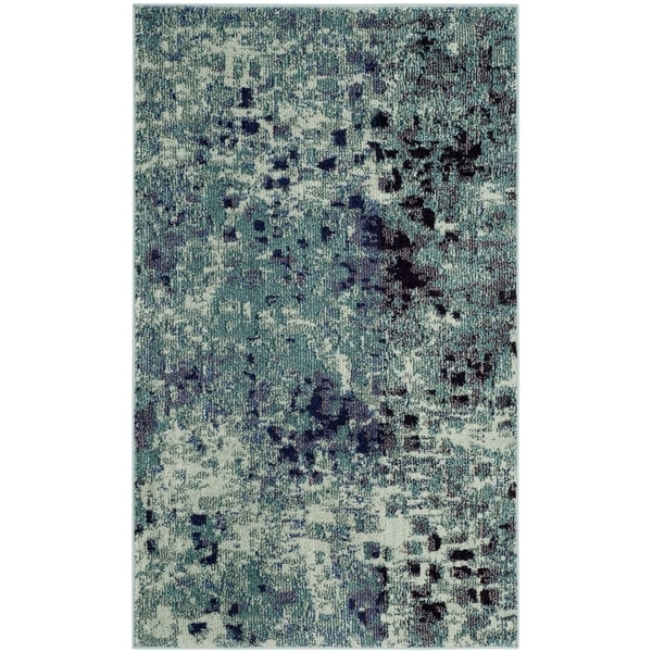Safavieh Monaco Abstract Watercolor Light Blue / Multi Distressed Runner (2'2 x 4')