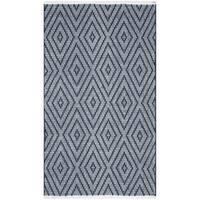 "Safavieh Montauk Hand-Woven Flatweave Navy/ Ivory Diamond Cotton Rug - 2'6"" x 4'"