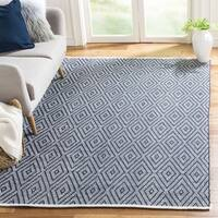 Safavieh Montauk Hand-Woven Navy/ Ivory Cotton Area Rug - 11' x 15'