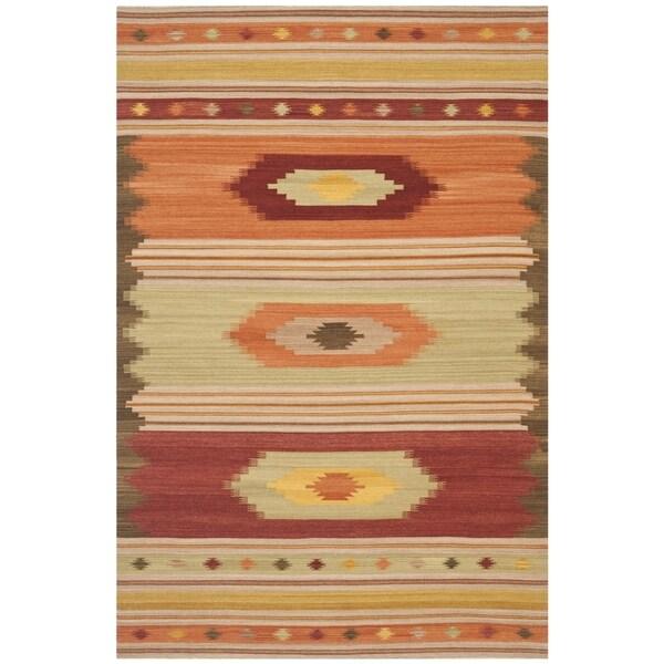 Safavieh Kilim Hand-Woven-Flat-Weave Brown/ Multi Wool Area Rug (11' x 15')