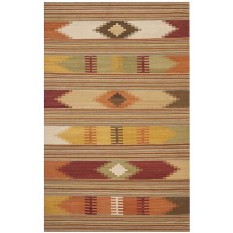Safavieh Kilim Hand-Woven-Flat-Weave Red/ Multi Wool Area Rug - 11' x 15'