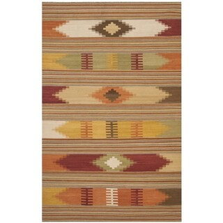 Safavieh Kilim Hand-Woven-Flat-Weave Red/ Multi Wool Area Rug (11' x 15')
