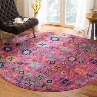 Safavieh Artisan Vintage Bohemian Fuchsia Pink/ Multi Distressed Rug (6' 7 Round)