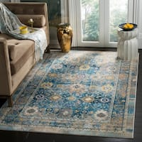 Safavieh Claremont Blue/ Gold Polyester Area Rug - 4' x 5'9