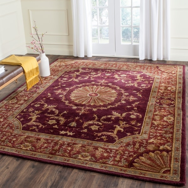 Hand Tufted Agra Red Gold Wool Rug 8 Round: Shop Safavieh Empire Hand-Tufted Red Wool Area Rug