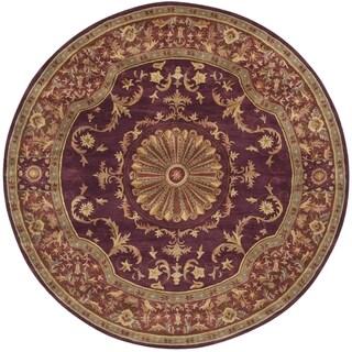 Safavieh Handmade Empire Dani Traditional Oriental Wool Rug (8 x 8 Round - Burgundy)