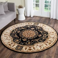 Safavieh Empire Hand-Tufted Black/ Ivory Wool Area Rug - 8' Round