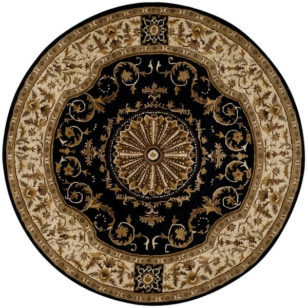 Safavieh Empire Hand-Tufted Black/ Ivory Wool Area Rug (8' Round)