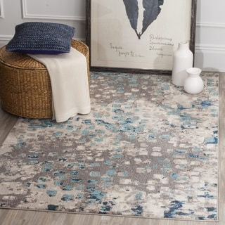 Safavieh Monaco Abstract Watercolor Grey / Blue Distressed Rug (9' Square)