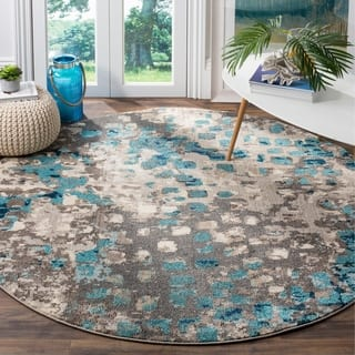 Safavieh Monaco Abstract Watercolor Grey Blue Distressed Rug 9 Round
