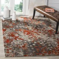 Safavieh Monaco Shiloh Abstract Watercolor Grey/ Orange Rug - 5' x 5' Square