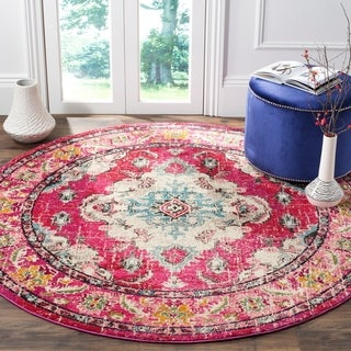 Safavieh Monaco Bohemian Medallion Pink/ Multicolored Distressed Rug (3' Round)