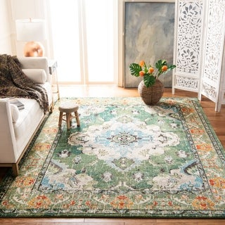 Safavieh Monaco Bohemian Medallion Forest Green / Light Blue Distressed Rug (6' 7 Square)