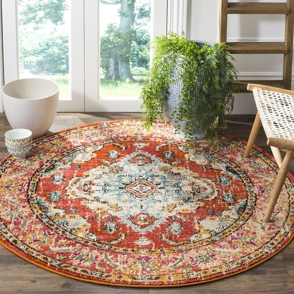 Safavieh Monaco Bohemian Medallion Orange/ Light Blue Distressed Area Rug - 3' Round
