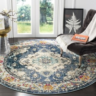 Safavieh Monaco Bohemian Medallion Navy/ Light Blue Distressed Rug (3' Round)