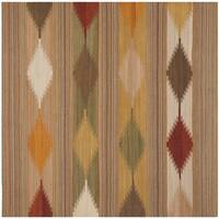 Safavieh Kilim Hand-Woven-Flat-Weave Natural/ Multi Wool Area Rug - 5' Square
