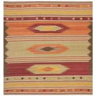 Safavieh Kilim Hand-Woven-Flat-Weave Brown/ Multi Wool Area Rug (5' Square)