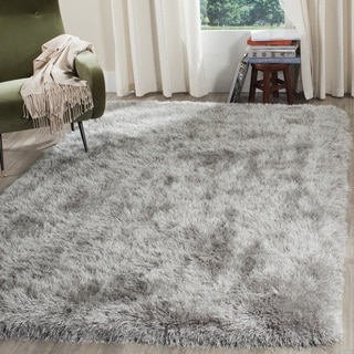 Safavieh Venice Shag Hand-Tufted Silver Polyester Area Rug (6' Square)