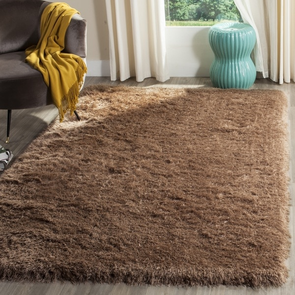 Safavieh Venice Shag Hand-Tufted Taupe Polyester Area Rug - 6' Square