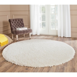 Safavieh Popcorn Shag Hand-Tufted Ivory Polyester Area Rug (8' Round)