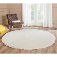 Safavieh Popcorn Shag Hand-Tufted Ivory Polyester Area Rug - 8' Round