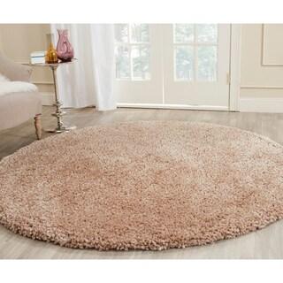 Safavieh Popcorn Shag Hand-Tufted Beige Polyester Area Rug (8' Round)