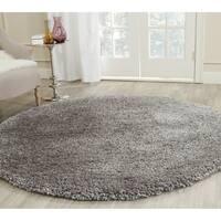 Safavieh Popcorn Shag Hand-Tufted Silver Polyester Area Rug (8' Round)