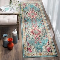 Safavieh Monaco Bohemian Medallion Blue/ Pink Distressed Runner Rug - 2' 2 x 12'