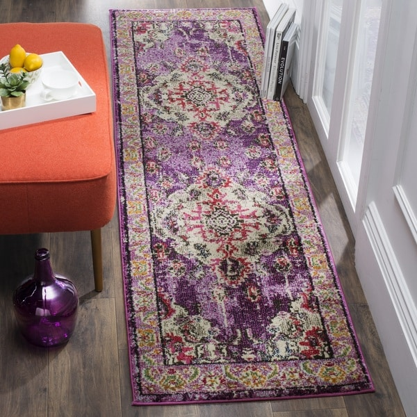 Safavieh Monaco Bohemian Medallion Purple/ Pink Distressed Runner Rug (2'2 x 10')