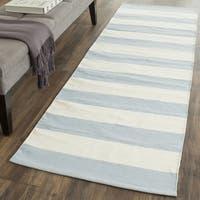 Safavieh Montauk Hand-Woven Blue/ Ivory Cotton Runner Rug - 2' 3 x 5'