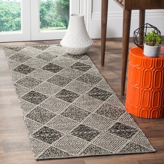 Safavieh Montauk Hand-Woven Black Cotton Runner Rug (2' 3 x 11')
