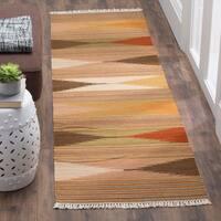Safavieh Kilim Hand-Woven-Flat-Weave Natural/ Multi Wool Runner Rug - 2' 3 x 10'